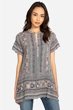 Johnny Was Kones Tunic - Wildfire Mercantile Stylish Tops For Women, Clothing Websites, Johnny Was, Boutique Clothing, Boho Chic, Short Sleeve Dresses, Tunic Tops, My Style, Casual