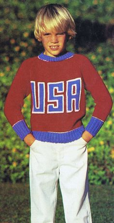Vintage 60s Boys Sweater Knitting Pattern with USA Embroidered Motif    Sizes 8-10 Chest 24-28 Inches    Motif Pattern Design Graph Included
