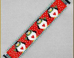 Pumpkin Row Peyote Bracelet Pattern by Kristyz on Etsy