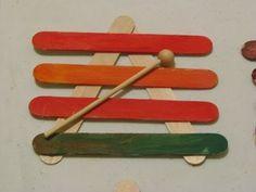 Ξυλόφωνο με ξυλάκια κατασκευών      πηγή:  teach preschool    Φυσαρμόνικα με ξυλάκια κατασκευών  (με φωτογραφίες βήμα-βήμα)    πηγή: ho...