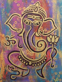 Ganesha painting Ganesh painting Lord by AngelaMillarSoulArt, $180.00