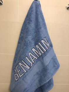 Custom towel blues line fabric on slate blue. Personalized Towels, Embroidered Towels, Blue Towels, Custom Dolls, Custom Sneakers, Knitting Needles, Make And Sell, Slate, Baby Gifts
