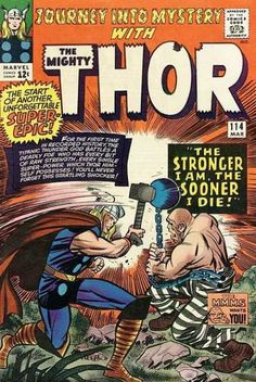 Journey into Mystery 114 Thor VS the Absorbing Man Silver age Marvel comics group; Bang that hammer against that ball! Marvel Comics Superheroes, Marvel Comic Books, Comic Book Characters, Marvel Characters, Marvel Vs, Jack Kirby Art, Absorbing Man, Mystery, The Mighty Thor