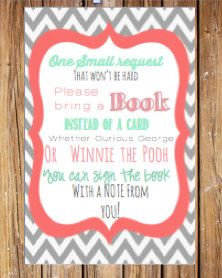 Bring A Book Instead Of A Card Baby Shower By SweetTeaPaper, $4.00
