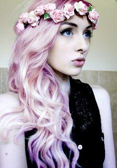flower hair wreath and pastel hair