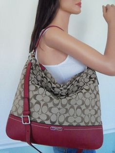 NWT! GORGEOUS COACH RED LEATHER SIGNATURE HOBO SHOULDER BAG CROSSBODY PURSE