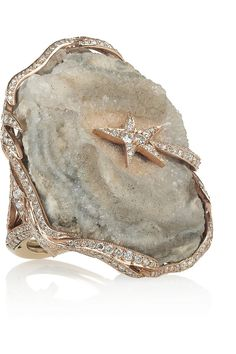 Lydia Courteille | Galaxy 18-karat rose gold, diamond and crystallized agate ring