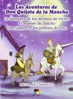Fantástico libro con las aventuras de Don Quijote de la Mancha y Sancho Panza con magníficas ilustraciones.