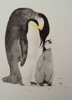 Big penguin, baby penguin watercolour by ELH Artistry