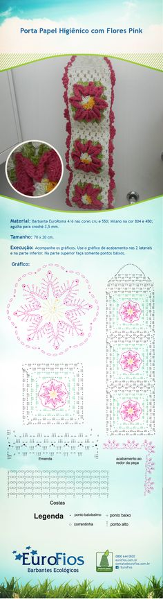 Receita-Porta-Papel-com-flores-pink-eurofios ? With diagrams, Crochet Stitches Patterns, Crochet Chart, Crochet Motif, Crochet Doilies, Stitch Patterns, Knit Crochet, Crochet Potholders, Crochet Squares, Chicken Scratch Embroidery