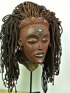 CHOKWE Mwana Pwo Mask. Angola. 21cm. Wood, beads, buttons, 2nd half 20C. Coll.PD-Jipsinghuizen-NL.