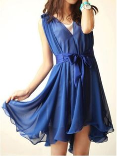 Sapphire Blue Irregular Hem Print Dress
