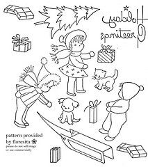 free vintage embroidery pattern - Christmas