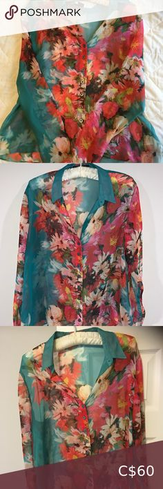 silk Guess blouse Lovely floral pattern Tiny holes near the hem (pictured) Guess by Marciano Tops Blouses Guess By Marciano, Plus Fashion, Fashion Tips, Fashion Trends, Pink Blue, Blouses, Silk, Floral, Pattern