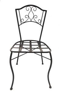 Veracruz forged iron chair for veranda, rustic patio and garden. It is hand made in black iron, rusted and natural finishing.