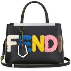 "Fendi 2Jours Petite ""Fendi"" Shearling Fur Tote Bag ($2,120) ❤ liked on Polyvore featuring bags, handbags, tote bags, black multi, black fur handbag, fendi tote, fendi purses, fendi tote bag and black handbags"