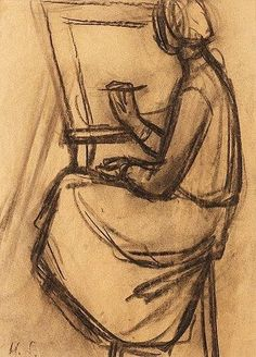 Helene Schjerfbeck (Finnish painter) 1862 - 1946 Kvinna vid Staffli (Woman at the Easel), s. Helene Schjerfbeck, Body Drawing, Manga Drawing, Drawing Faces, Drawing Tips, Pencil Drawings, Art Drawings, Charcoal Art, Charcoal Drawings
