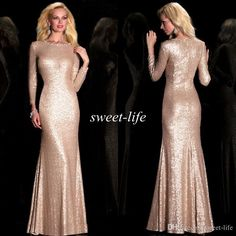 Bling Rose Gold Sequined Mother of the Bride Dresses with Long Sleeves Mermaid Crew Neck Floor Length 2016 Formal Evening Dress Party Gowns Online with $103.67/Piece on Sweet-life's Store | DHgate.com