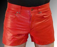 Lederhose kurz Ledershorts rot neu Männer Shorts Leder leather shorts red Cuir