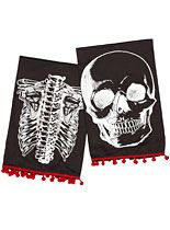 Show off your sinister style with these X-Ray Skeleton Tea Towels. This set of two black cotton tea towels features vintage anatomical skeleton artwork printed in white on the front, and contrasting blood-red pom-pom trim. Dish Towels, Hand Towels, Tea Towels, Sourpuss Clothing, Retro Tattoos, Inked Shop, Gothic House, Gothic Mansion, Pom Pom Trim