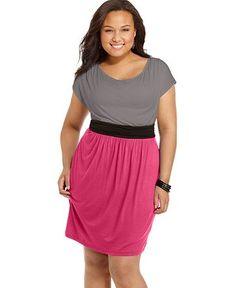 Soprano Plus Size Dress, Short Sleeve Colorblocked