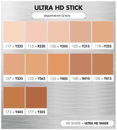 Base Makeupforever- Ultra HD Stick-- Tabela de conversão de cores -Tons disponíveis