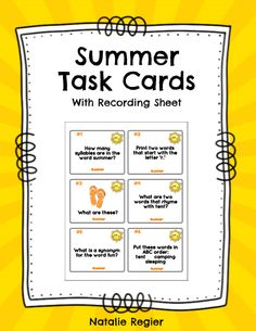The Summer Task Cards package contains 24 task cards and a recording sheet. Students look at each task and record their response on the recording sheet. Questions focus on a variety of skills including compound words, rhyming, ABC order, writing sentences, prefixes, plurals, etc.