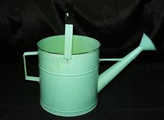 Green Turquoise Galvanized Metal Watering Can Sprinkler Planter w/ Bail & Spout