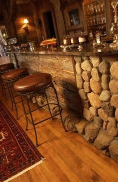 Close up of bar area in this rustic cabin ....  Adirondack Style