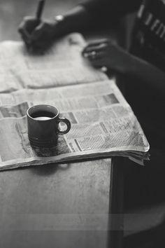 """Break time.. by Aisha Yusaf"" - Coffee + Newspaper - UtopianCoffee.com"