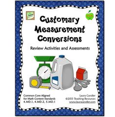 The Customary Measurement Conversions ebook is a comprehensive collection consisting of 70 pages teaching resources to review and assess customary measurement basic units and conversions. You'll find math center games, measurement task cards, cooperative learning activities, printables, word problems, and tests.