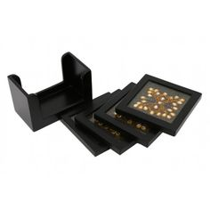 Kundan Black Four Coaster Set