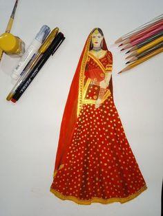 indian bridal wear by Ashish bannait – fashion portfolio ideas Dress Design Drawing, Dress Design Sketches, Fashion Design Sketchbook, Fashion Design Drawings, Fashion Sketches, Drawing Sketches, Sketching, Art Drawings, Fashion Illustration Face