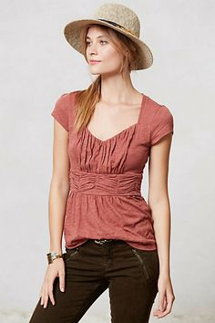 Anthropologie ruched top in Copper. I bought this today. Looks quite different on a non-model type body!