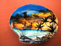 Landscaped on a Seashell painted with acrylic...