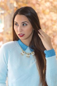 Baby Blues fashion post featuring #Gap sweater and scarf. New on BisousBrittany.com