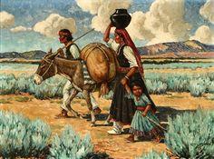 "Carl Moon (1879 – 1948). ""Early Morning, Santa Clara Indians – Indian Family With Burro"" Courtesy: American Gallery, americangallery.wordpress.com"