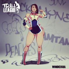 ant_piper: Wondeisha (probably the most favorite character according to fans), the Wonder Woman parody. I'd say the funniest material I write involves her. Almost done laying out the character guide though. Black Comics, Bd Comics, Comics Girls, Black Girl Art, Black Women Art, Art Girl, Black Anime Characters, Female Characters, Female Character Design