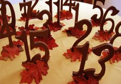 fall wedding table number ideas | Fall Table Numbers