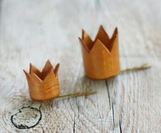A super cute set of matching princess crown hair pins for a mother and daughter,