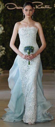 Oscar de la Renta white floral guipure gown with blue satin faced organza ruffle train. The Wedding Scoop Spotlight: Coloured and Non-white Wedding Dresses