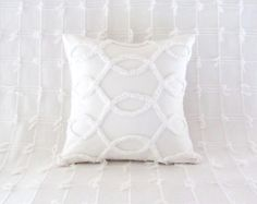 white pillow cover WHITE CURVES white by moreChenilleChateau, $59.00