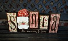 Christmas wood blocks Santa Claus is coming to town by jjnewton, $22.00