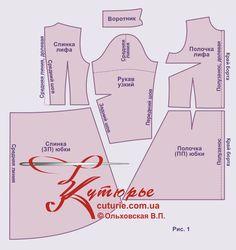 Выкройка платье-рубашка отрезное перепад длины 40-62 рис1