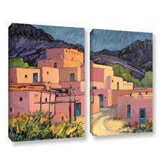 Taos Pueblo by Rick Kersten 2 Piece Gallery-Wrapped Canvas Set
