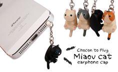 Strapya World : Chocon to Plug Miaov Cat Earphone Jack Accessory (Black)