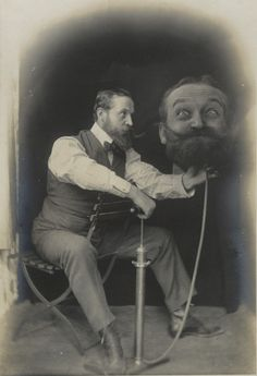 """ca. 1899, [silver print portrait of a gentleman inflating an enlarged duplicate of his own head, """"Un Coup de Pompe, S.V.P.""""]  """"Around the turn of the twentieth century, decapitation was a hugely popular theme among photographers, stage magicians, and early filmmakers such as Georges Méliès. This photograph of a bearded gentleman tenderly inflating an enlarged duplicate of his own head with a bicycle pump graced the cover of the amateur photography magazine Photo Pêle-Mêle i..."""