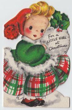 Vintage Greeting Card Christmas Girl Die-Cut 1940s Hallmark e578
