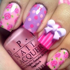 pink & purple floral i feel like these are the kind of nails minnie mouse would wear