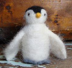 Penguin from felting wool roving